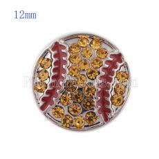 12MM Baseball snap with yellow Rhinestone and Enamel KS5146-S interchangeable snaps jewelry