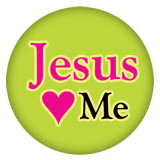 20MM Jesus green Painted enamel metal C5394 print snaps jewelry