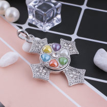 20MM Flower snap Silver Plated with rhinestone KB5156 multicolor