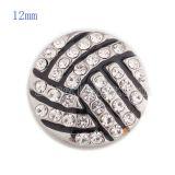 Broche de voleibol 12MM con diamantes de imitación blancos y esmalte KS5147-S joyería de broches intercambiables