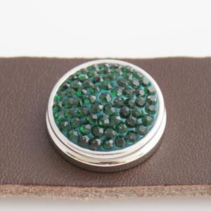 18mm Sugar snaps Alloy with dark green rhinestones KB2315 snaps jewelry