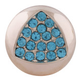 20MM  snap rose-gold Plated with blue rhinestone KC7627 snap jewelry