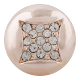 20MM snap rose-gold Plated with white rhinestone KC7624 snap jewelry