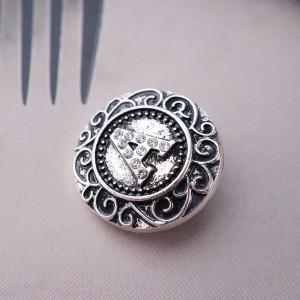 20MM Englisches Alphabet - Ein Druckknopf Antik Silber mit Strass KB6254 Druckknöpfen Schmuck