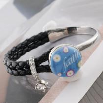 20MM faith Painted blue enamel metal C5392 print snaps jewelry