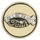 20MM Faith snap Antique gold plated with white Rhinestone KC8640 interchangable snaps jewelry