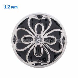 Broches 12mm Flower Antique Plateados con esmalte negro y diamantes de imitación KS5034-S snap jewelry