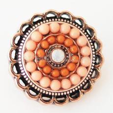 20MM Round snap Antik vergoldet mit Strass und orangen kleinen Perlen KB6394 schnappt Schmuck