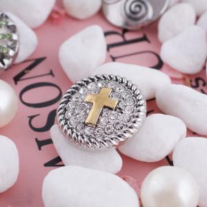 20MM chapa cruzada chapada en oro con diamantes de imitación blancos KC5112 joyería de broches intercambiables