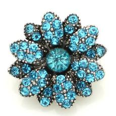 20mm alloy flower snap Antique Silver Plated with light blue rhinestone KB8830 cyan