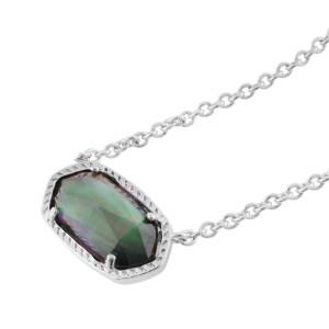 Kendra Scott style Elisa Colgante Collar Concha negra con cadena plateada 0.8 * 1.5cm colgante Tamaño Elisa