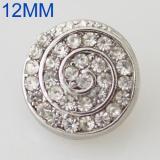 12MM Swirl snap Plateado antiguo plateado con diamantes de imitación KB8539-S broches de joyería
