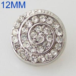 12MM Swirl snap Antique Silver Plated with  rhinestone KB8539-S snaps jewelry