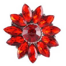 20MM Gear snap Silver Plated with red rhinestone KC9815 snap jewelry