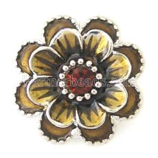 20MM Flower snap Silver Plated with brown rhinestone and Enamel KB8778 snaps jewelry