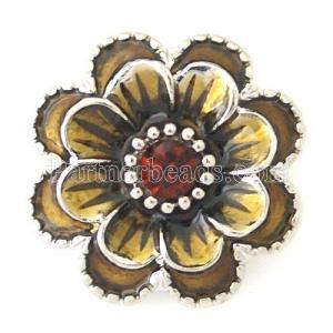 20MM Bouton pression de fleurs Argenté avec strass marron et émail KB8778 s'encliquette