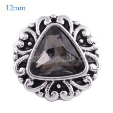12MM Druckknopf Antik Silber Überzogen mit facettiertem grauem Kristall. KS6077-S Druckknopfschmuck