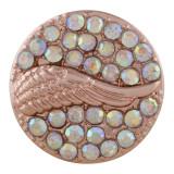 Ala 20MM Chapado en oro rosa con diamantes de imitación de colores KC6486 broches de joyería