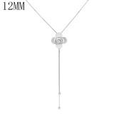 Flor colgante de plata Collar con cadena 80CM KS1278-S fit 12MM trozos broches joyería