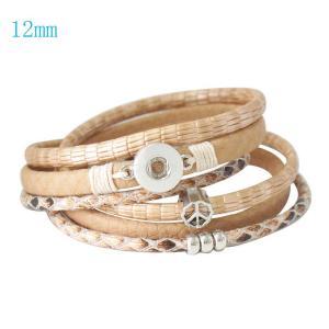 16inch PU leather bracelets fit 12MM snaps chunks