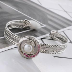 Astilla de diseño 20MM plateada con diamantes de imitación y perlas KC5697 broches de joyería