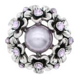 20MM Flower Snap Antik Silber Überzogen mit lila Strass und Perle KC7690 Snaps Schmuck