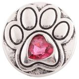 20MM paw  snap silver Antique plated with rose-red Rhinestone KC6362 snaps jewelry