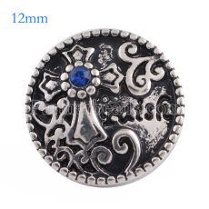 12MM faith snap Antique Silver Plated with blue Rhinestone KS6102-S snaps jewelry