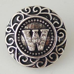 20MM Alfabeto inglés-W snap Chapado en plata antigua con diamantes de imitación KB6276 broches de joyería