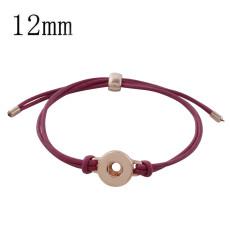 1 pulseras ajustables de cuero de oro rosa pulseras ajustadas de oro rosa Broches 12mm KS1183-S