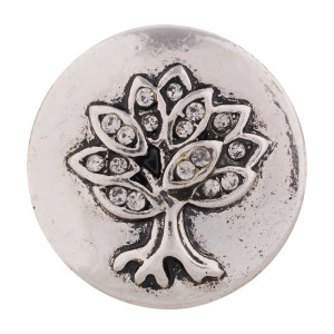 Árbol 20MM Chapado en plata antigua con diamantes de imitación blancos KC7435 joyería de broches intercambiables