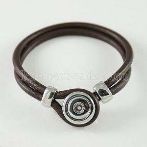 brown real leather new type bracelets fit Small snaps chunks