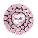 Botón a presión 20MM Heart Love Plateado plata antigua con joyería a presión de cristal rosa