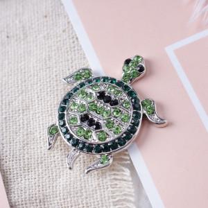 20MM broches de tortuga marina con diamantes de imitación verde KB7045 broches de joyería