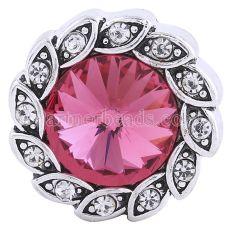 20MM snap Antique Silver plaqué avec strass rose-rouge KC6242 snaps bijoux
