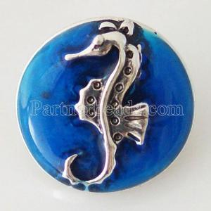 20MM Broche de caballo de mar hipocampo chapado con esmalte KB6313 azul