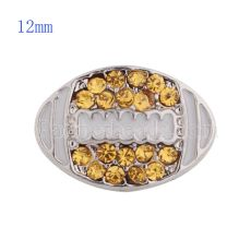 12MM Football snap with yellow Rhinestone and Enamel KS5145-S interchangable snaps jewelry