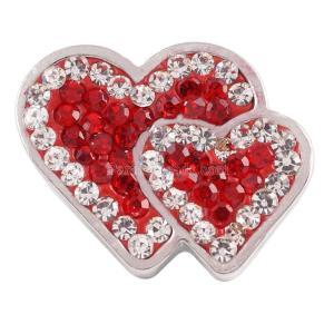 20mmバレンタインラブハートスナップと赤いラインストーンKC4009スナップジュエリー