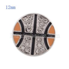 12MM Basketball snap avec strass blanc et émail orange KS5149-S snaps interchangeables bijoux