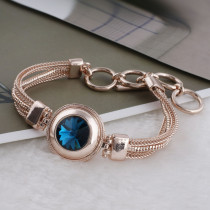 20MM round snap rose-gold Plated with Dark blue Rhinestone KC9769 snaps jewelry