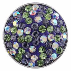 紫色のラインストーンが付いたボタンをスナップKC2817スナップジュエリー