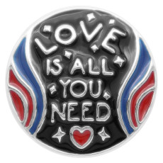 20MM love snap button Plateado con esmalte KC5720 snap jewelry
