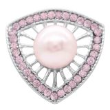 20MM Perlenverschluss versilbert mit pinkfarbenen Strasssteinen KC7792 schnappt edel