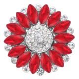 20MM цветок оснастки посеребренная с красным стразами KC7871 оснастки ювелирные изделия
