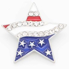 20MM Pentagram snap sliver Plateado con diamantes de imitación KC6710 broches de joyería