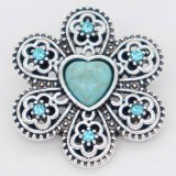 20MM flower snap Silver Plated with cyan Rhinestone and Turquoise KC6865