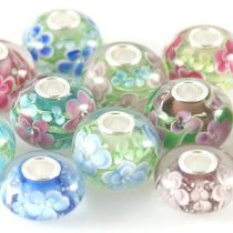 925 Flowers Murano beads with CZ stones inside 15*10MM