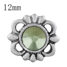12MM design snap sliver plated with green Rhinestone KS6305-S snaps jewelry