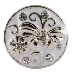 20MM Butterfly snap silver Plated with white Rhinestones and enamel KC7682 snaps jewerly