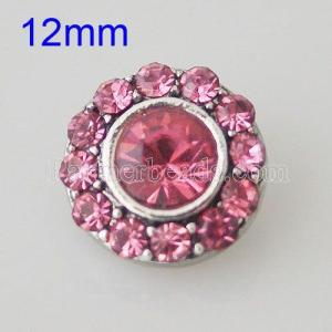 12MM Round snap Silver Plated with rhinestones KB1521-S snaps jewelry